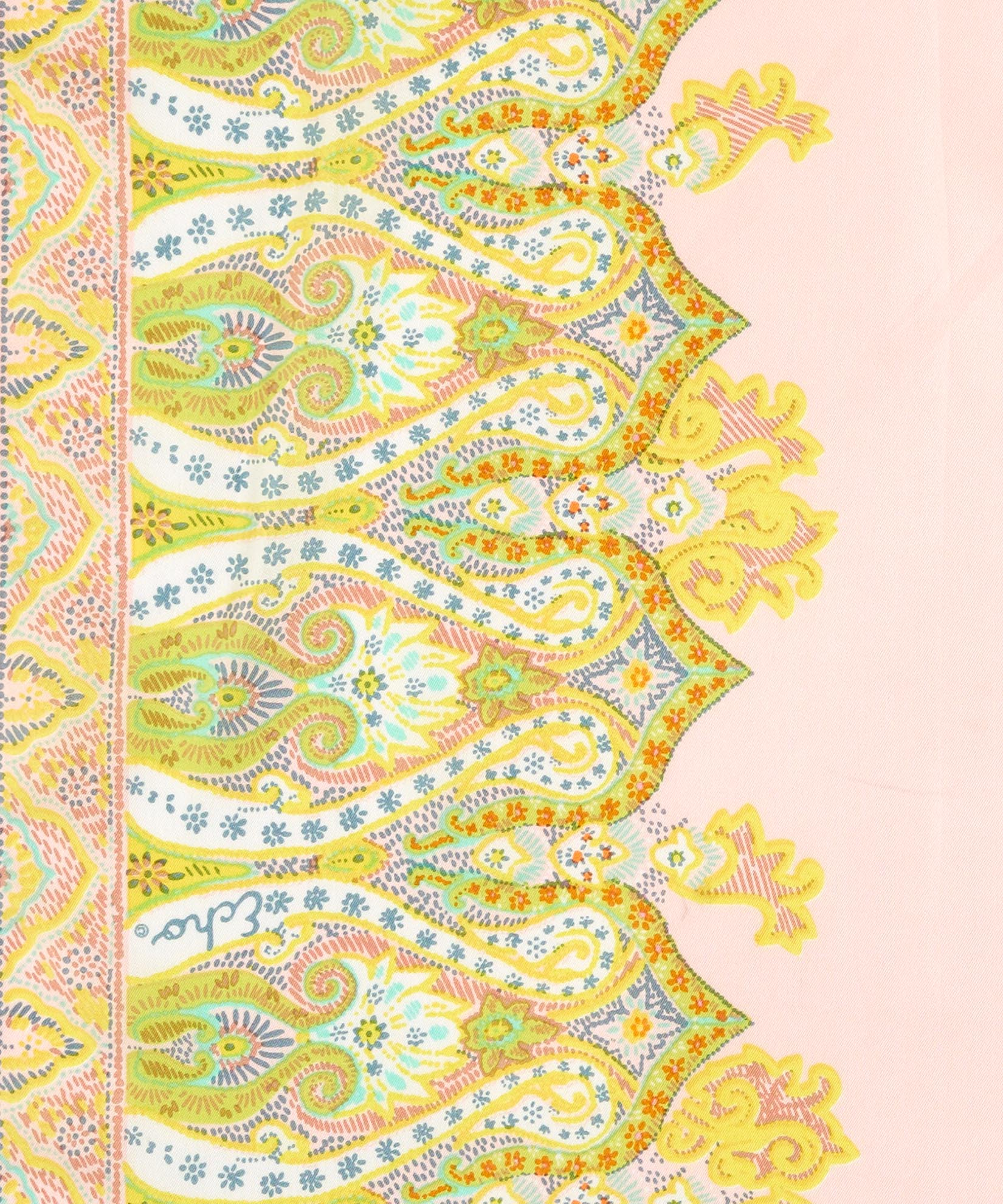 Pearl Pink - Sea Fan Paisley Silk Oblong