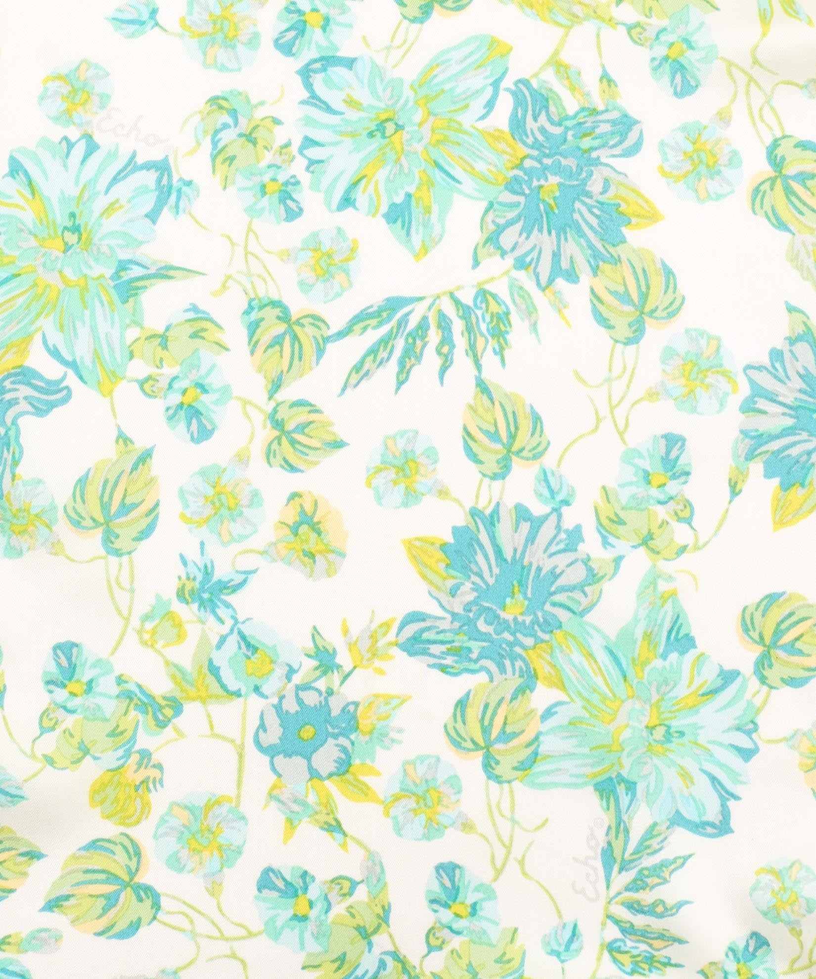 White - Adelaide Floral Silk Oblong