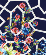 Navy - Adelaide Floral Silk Diamond