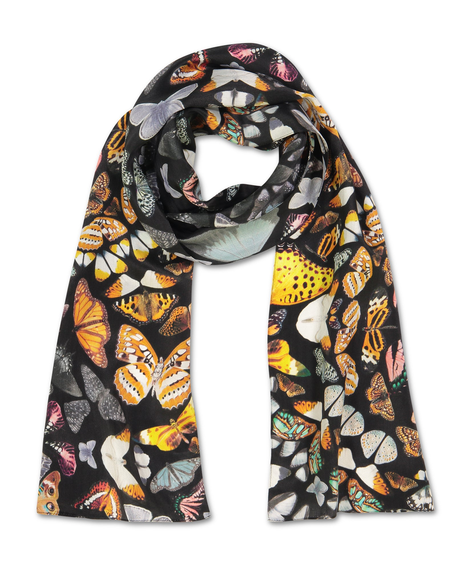 Black - Giving Me Butterflies Silk Oblong