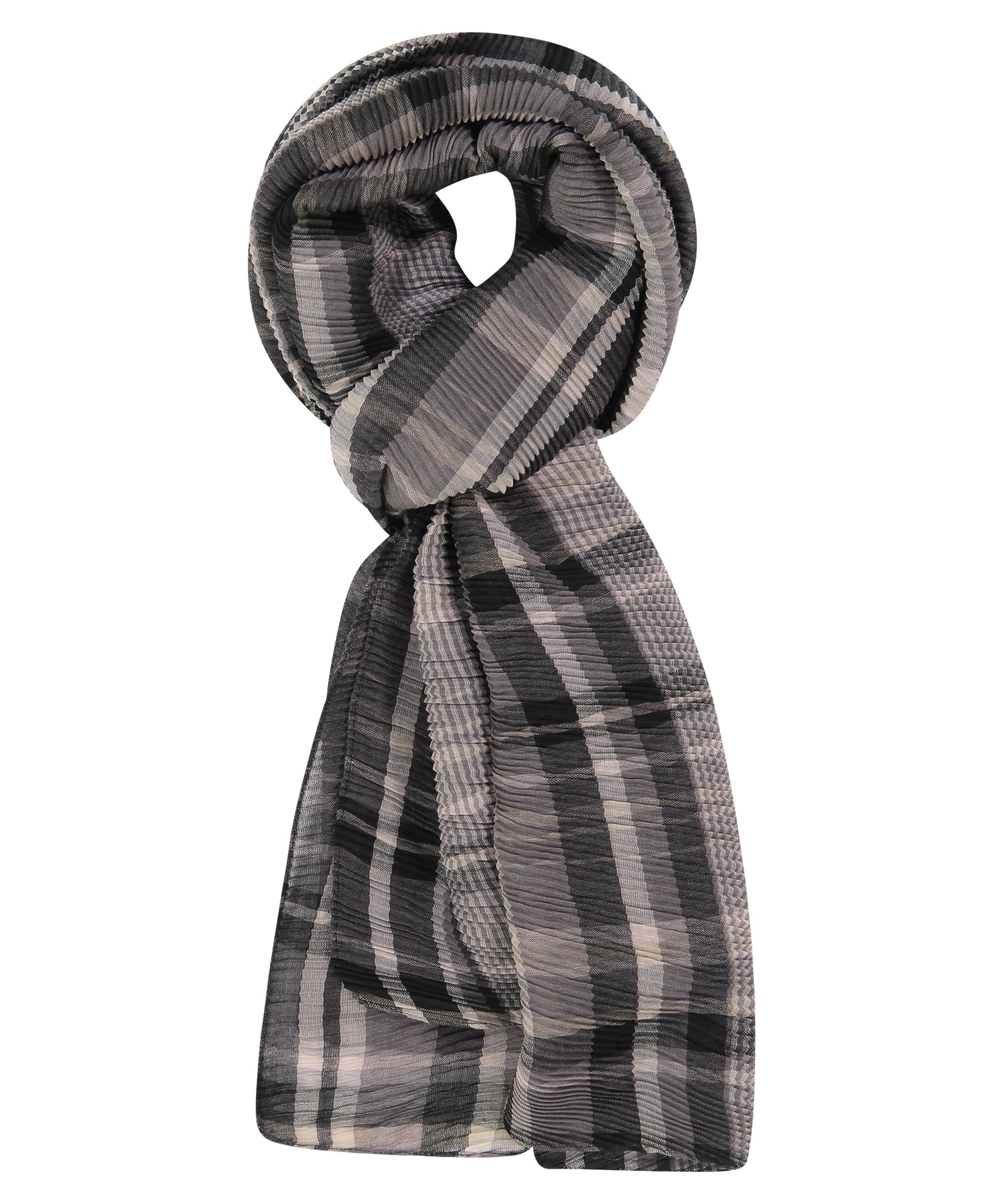 Black - Pleated Plaid Wrap
