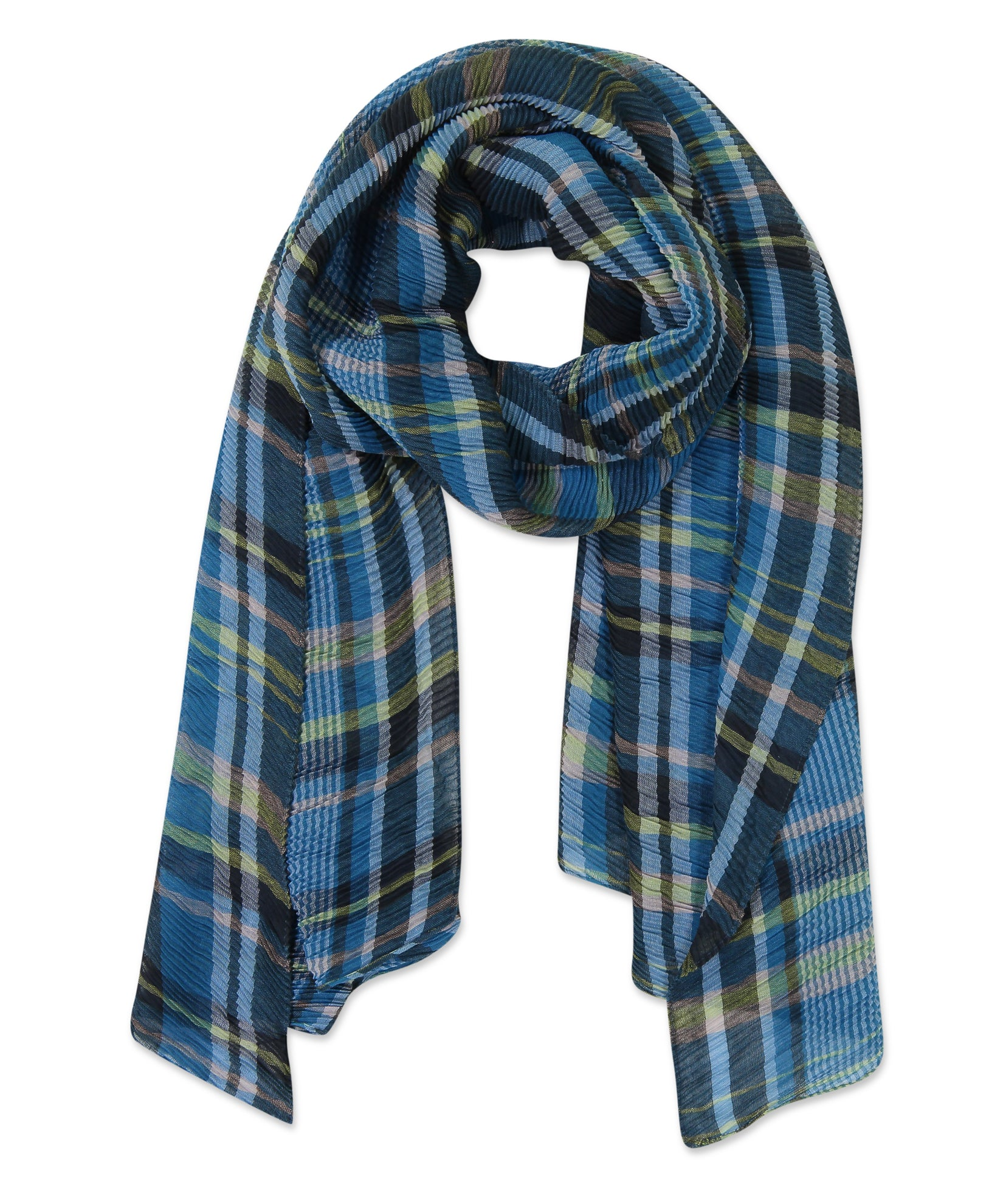 Navy - Pleated Plaid Wrap