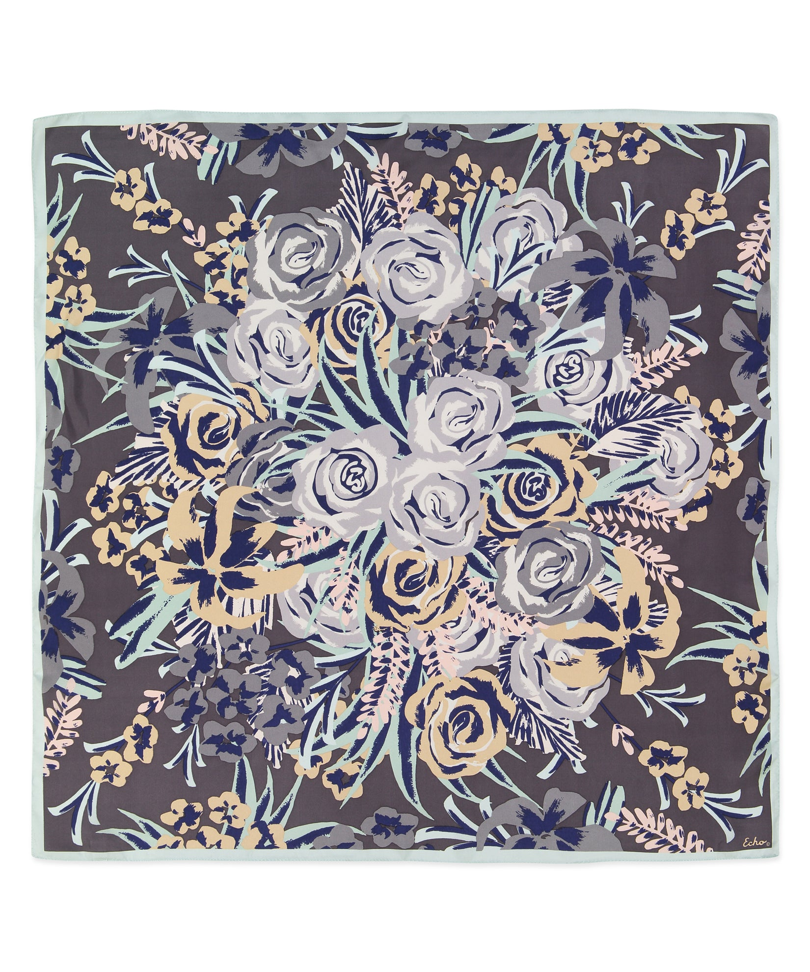 Black - Bouquet Silk Square