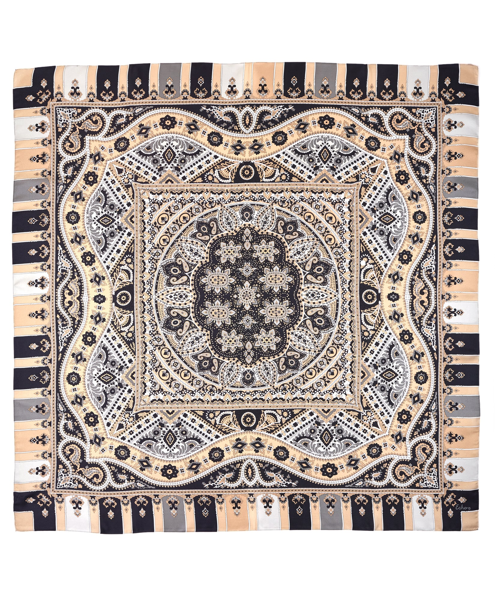 Black - Mumbai Paisley Silk Square