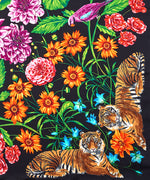 Black - Bengal Blooms Silk Square