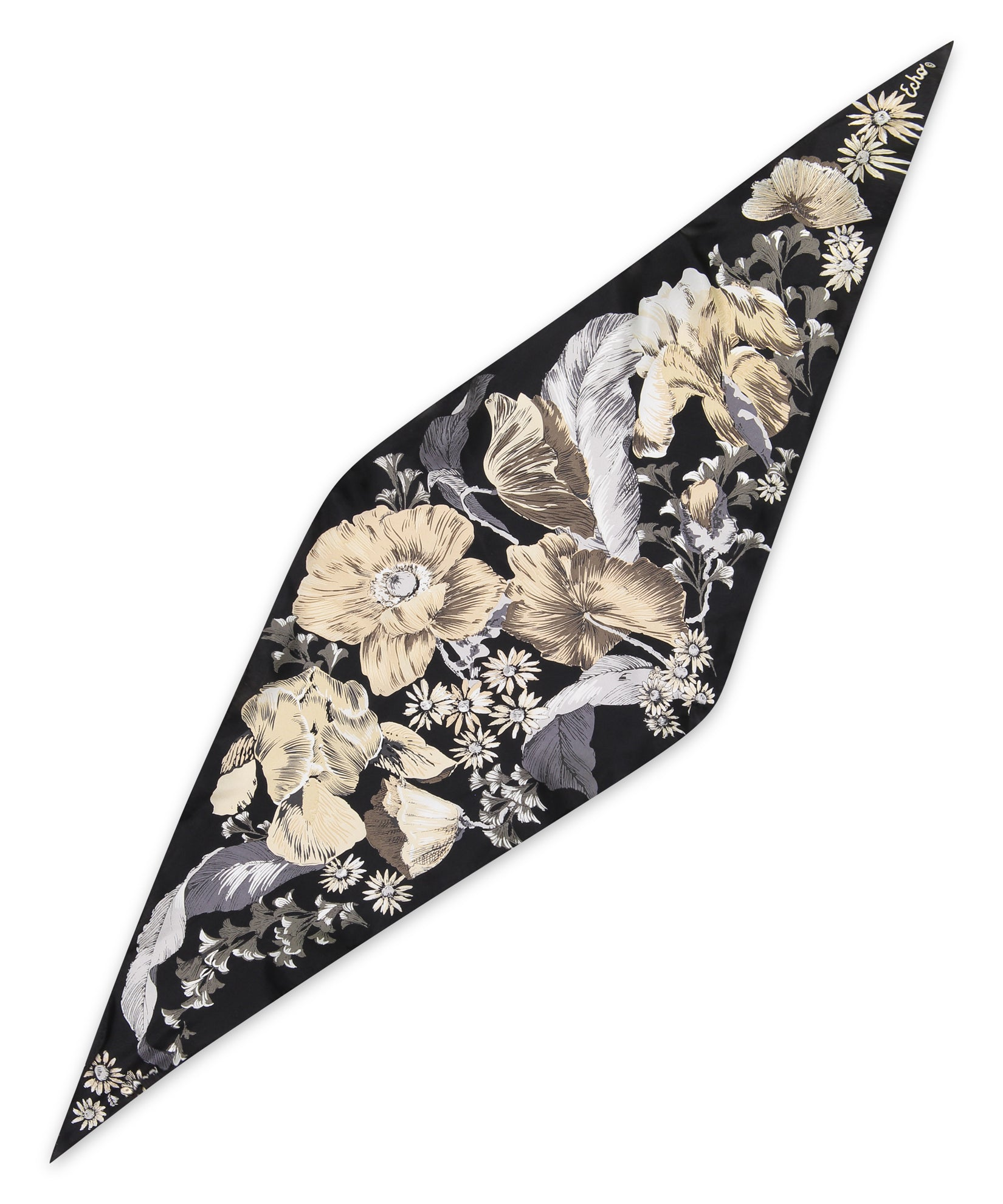 Black - Mumbai Floral Silk Diamond
