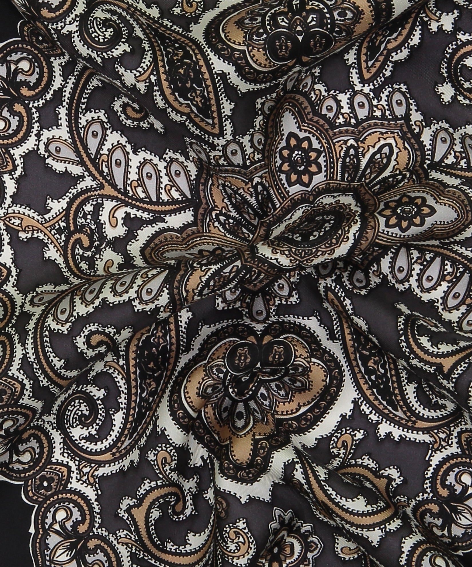 Black - Ornate Paisley Silk Diamond