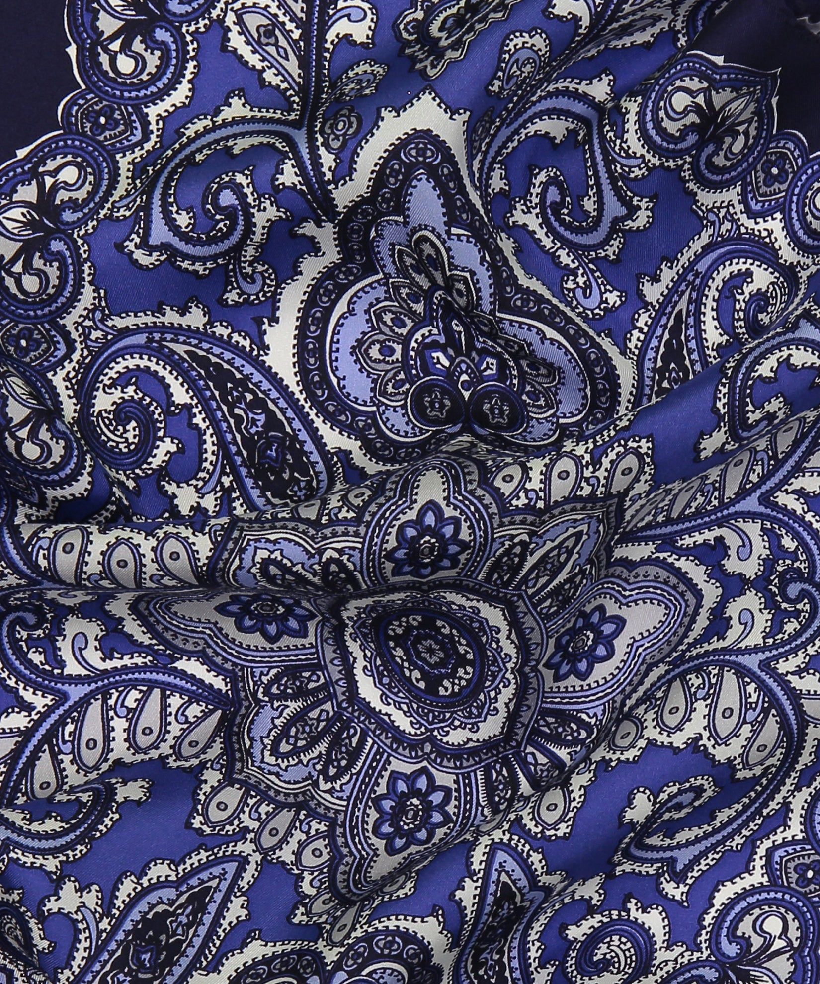 Navy - Ornate Paisley Silk Diamond