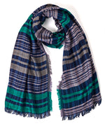 Navy - Fuzzy Plaid Oblong