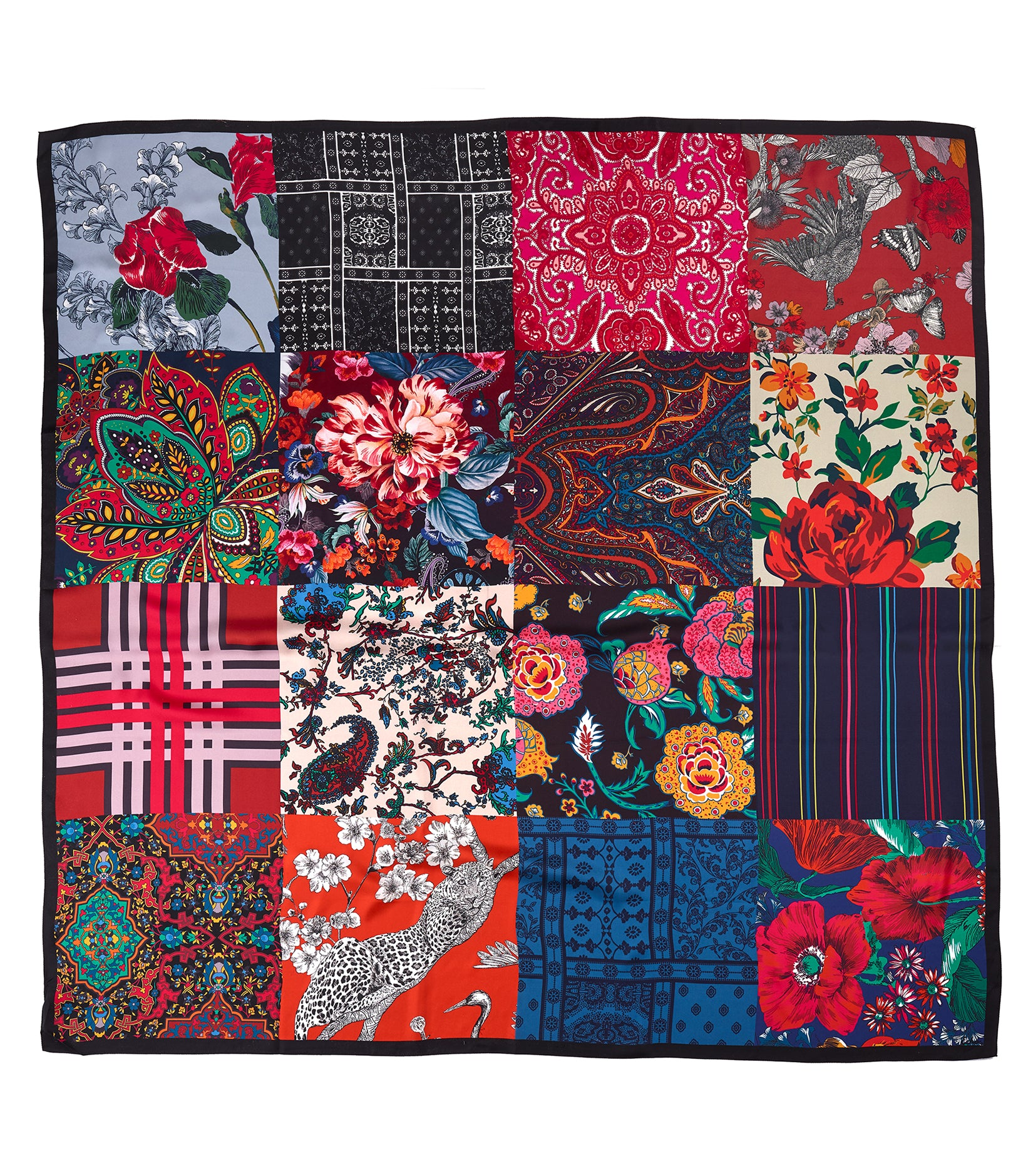 Multi - Holiday Patchwork Silk Square