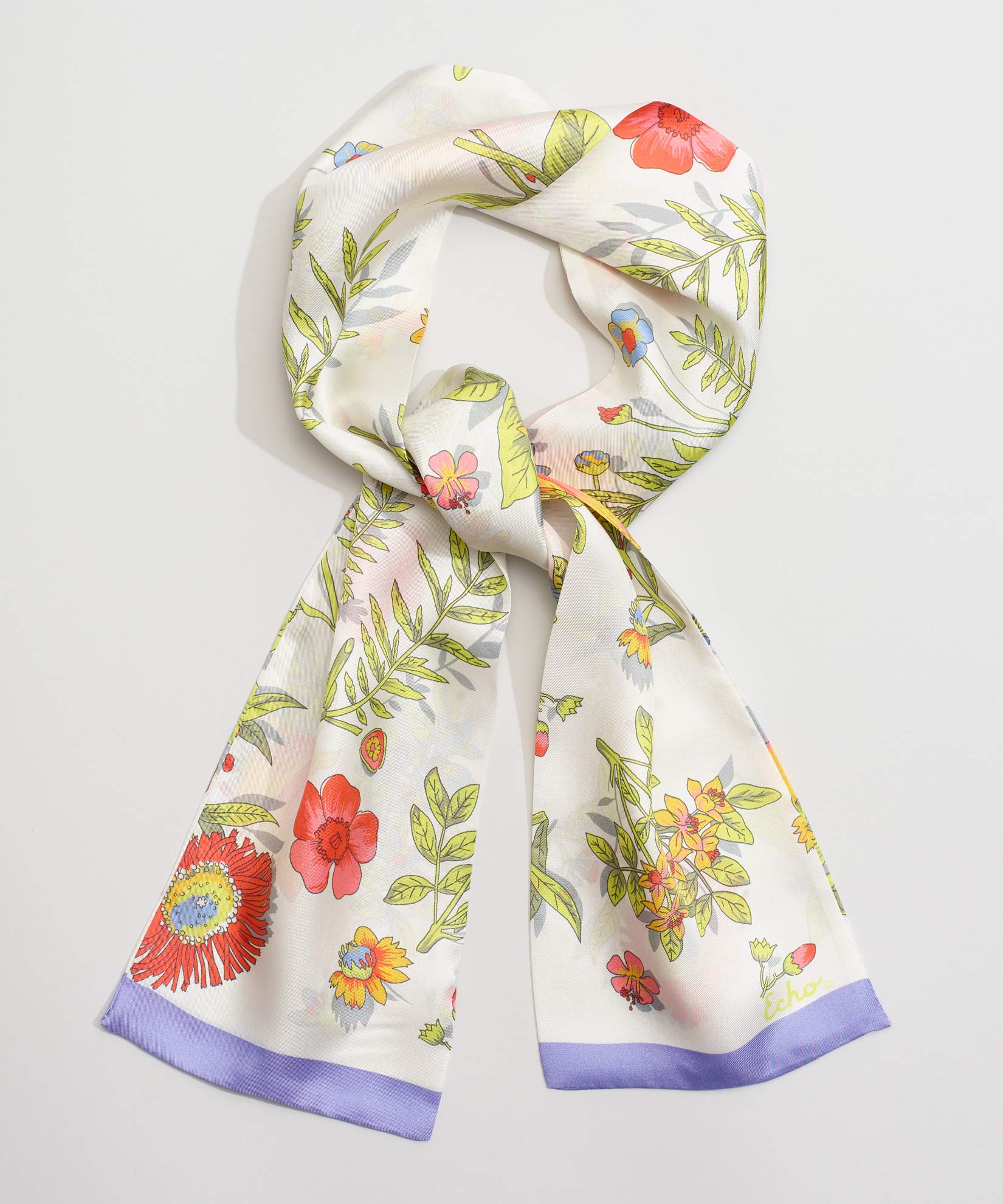 Multi - Floral Silk Oblong