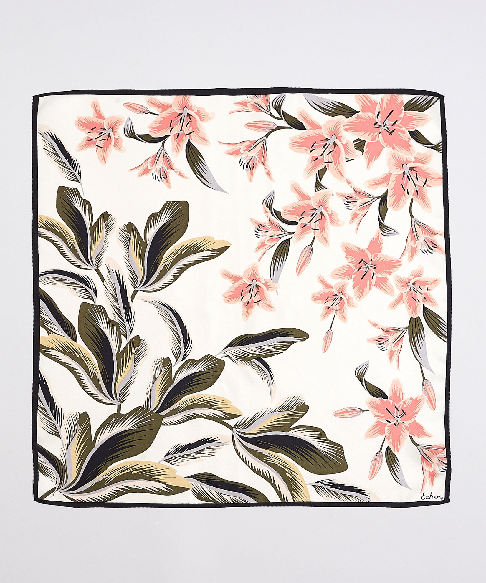 Cream - Tropical Palms Silk Square