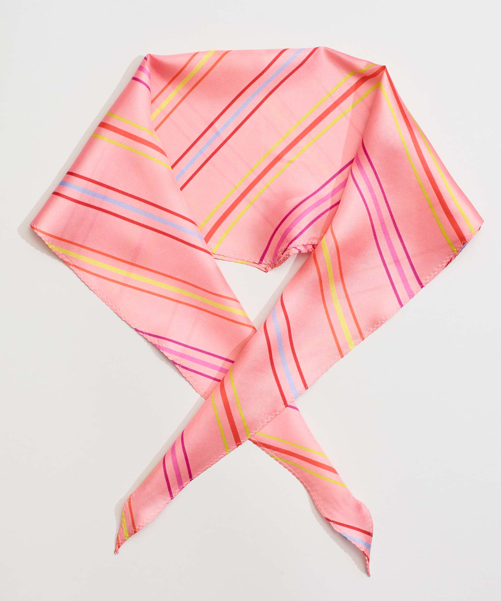 Cambon Coral - Pin Stripe Silk Diamond