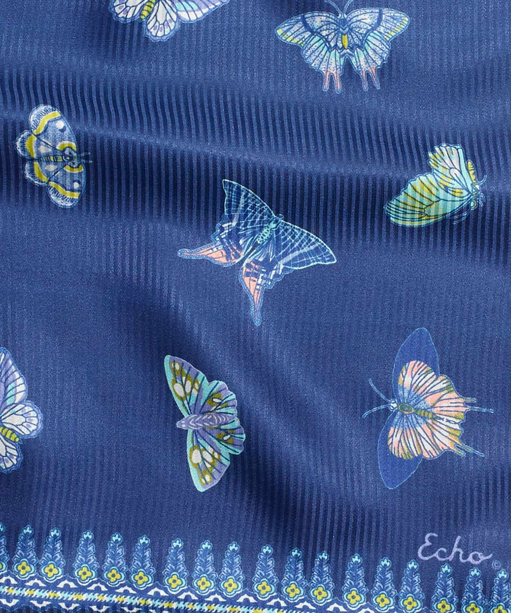 Navy - Butterfly Silk Oblong