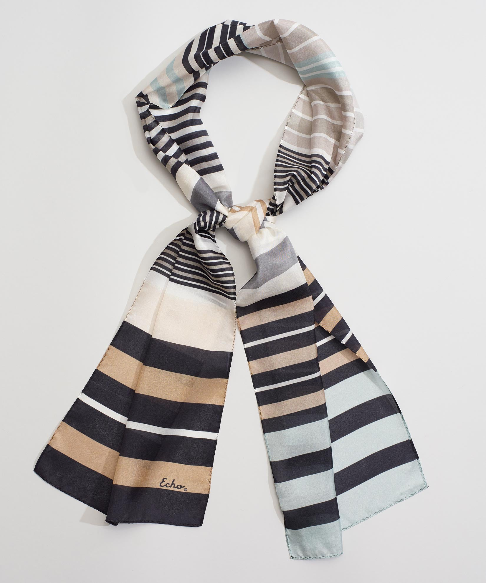 Black - Stripes On Stripes Silk Oblong