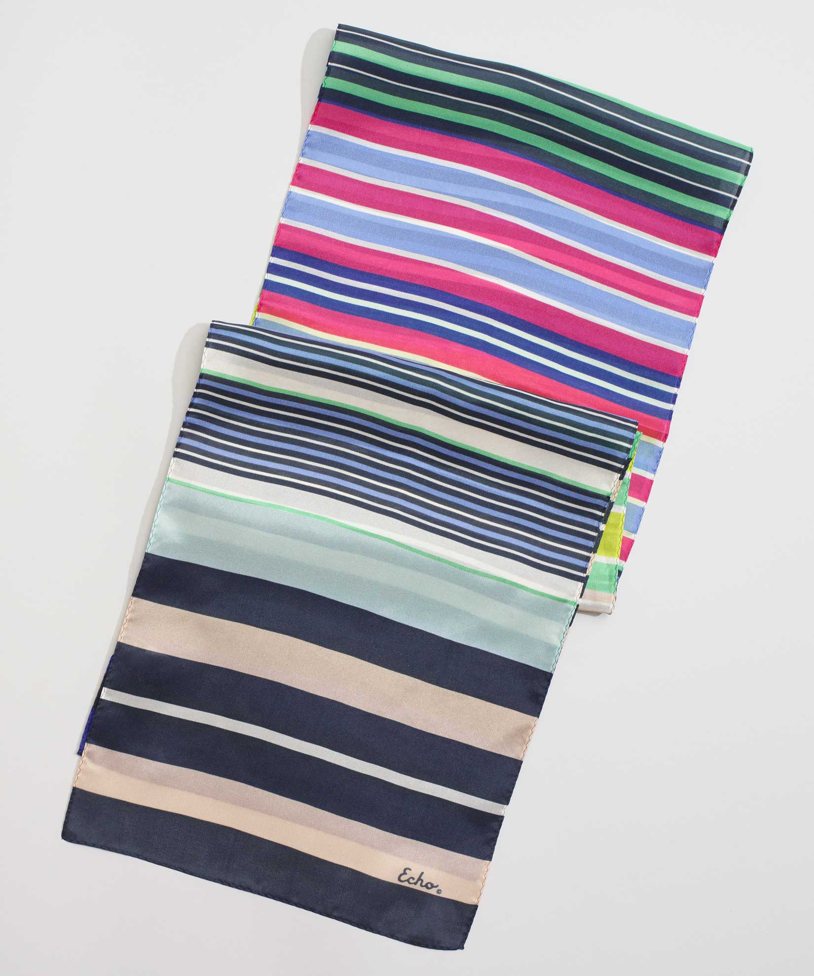 Multi - Stripes On Stripes Silk Oblong