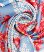 Coastal Blue - Tossed Floral Silk Square