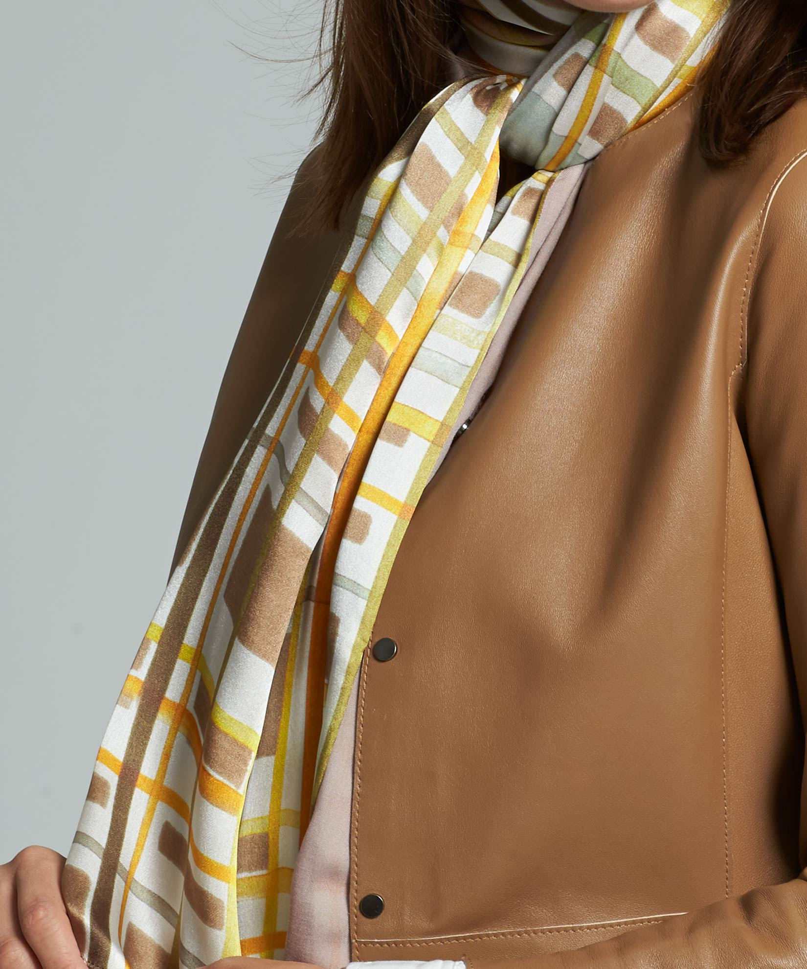 Chai - Painted Plaid Tubular Silk Wrap