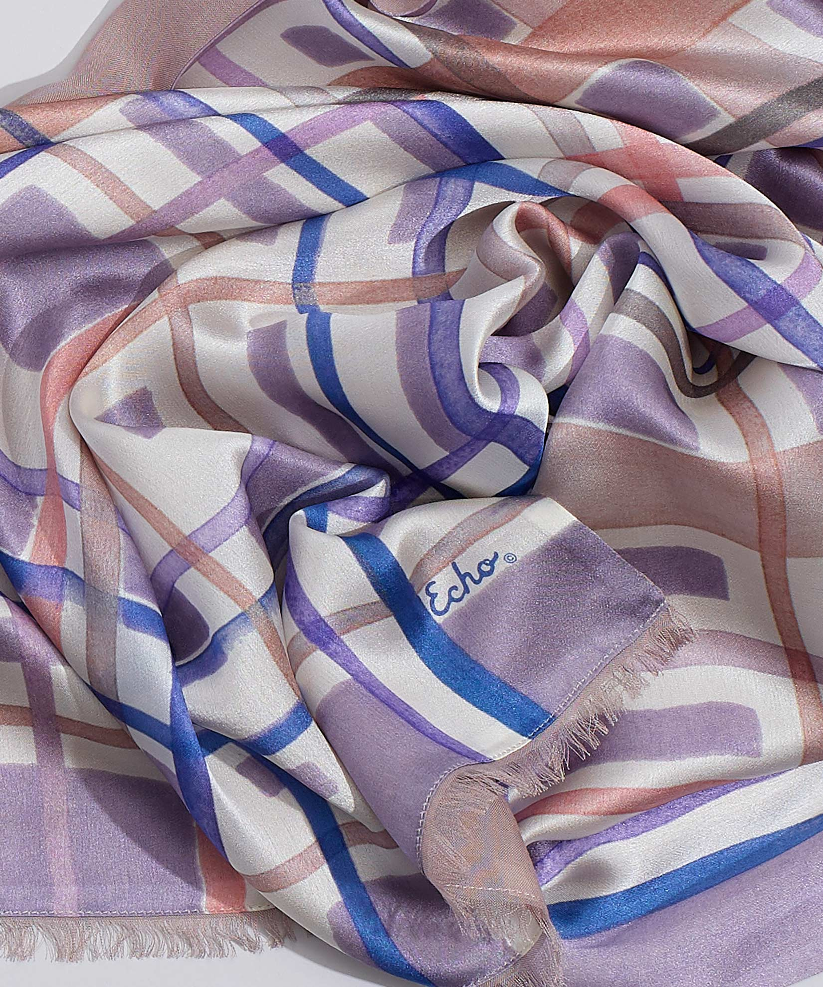 Orchid - Painted Plaid Tubular Silk Wrap
