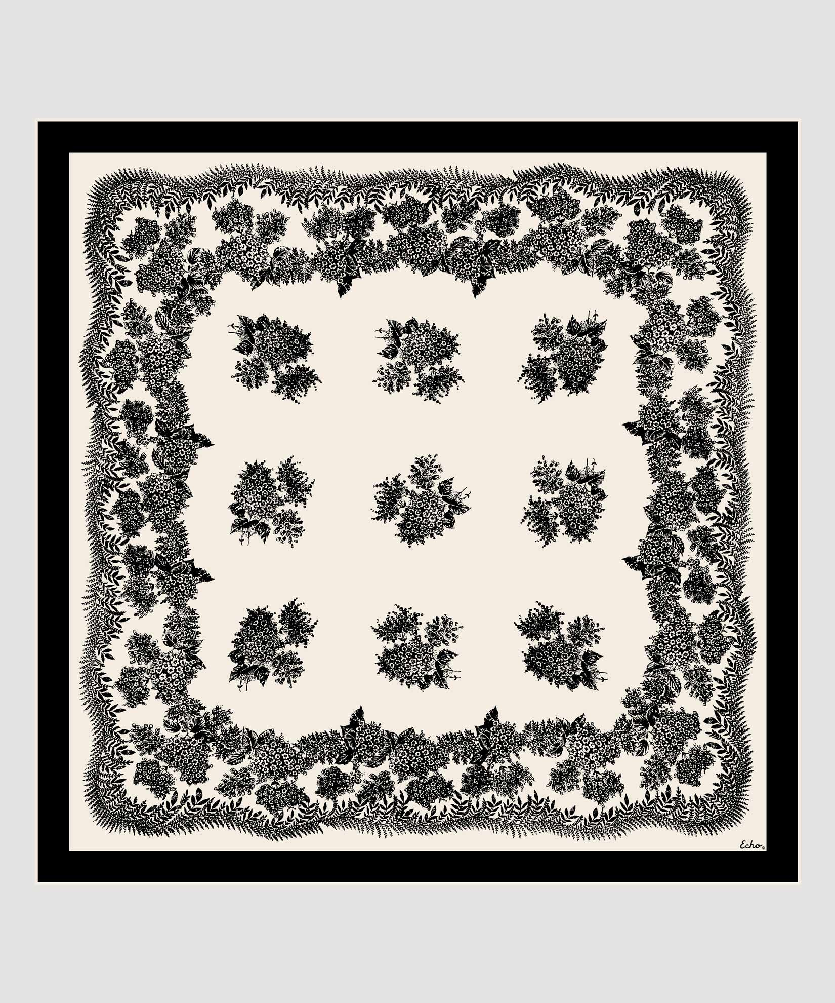 Black - Floral Bi-Color Silk Square