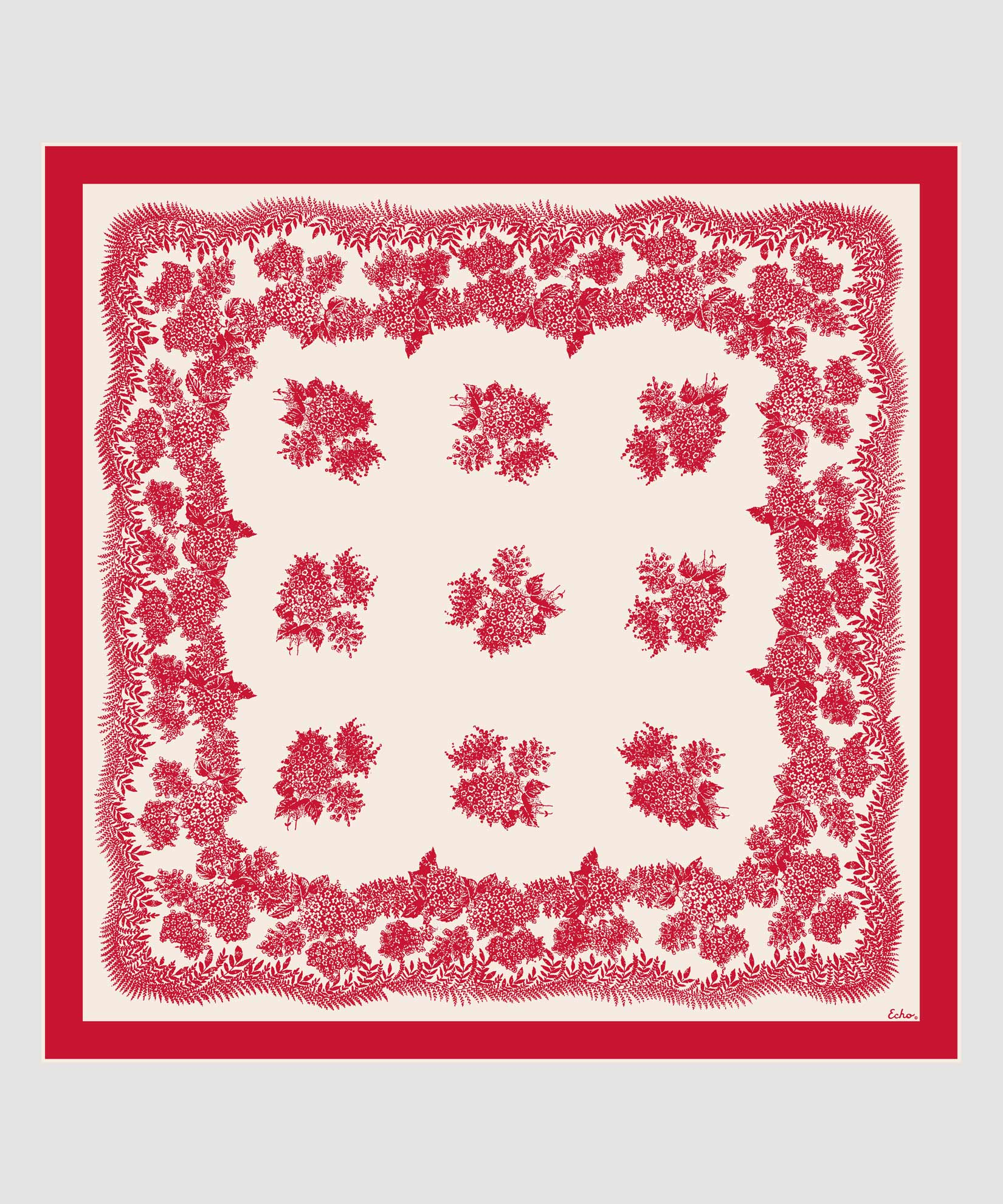 Resort Red - Floral Bi-Color Silk Square