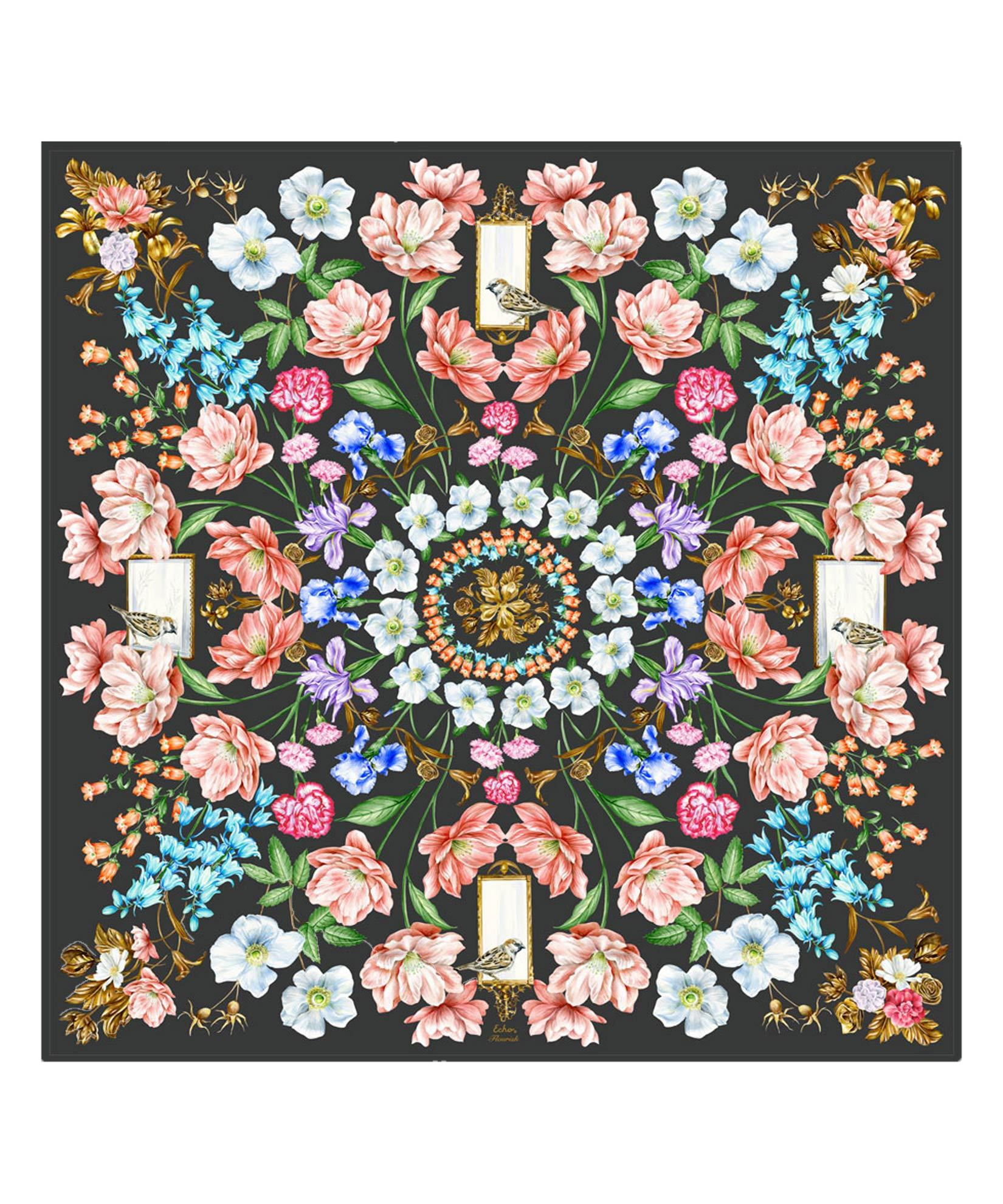 Black - Flourish Silk Square