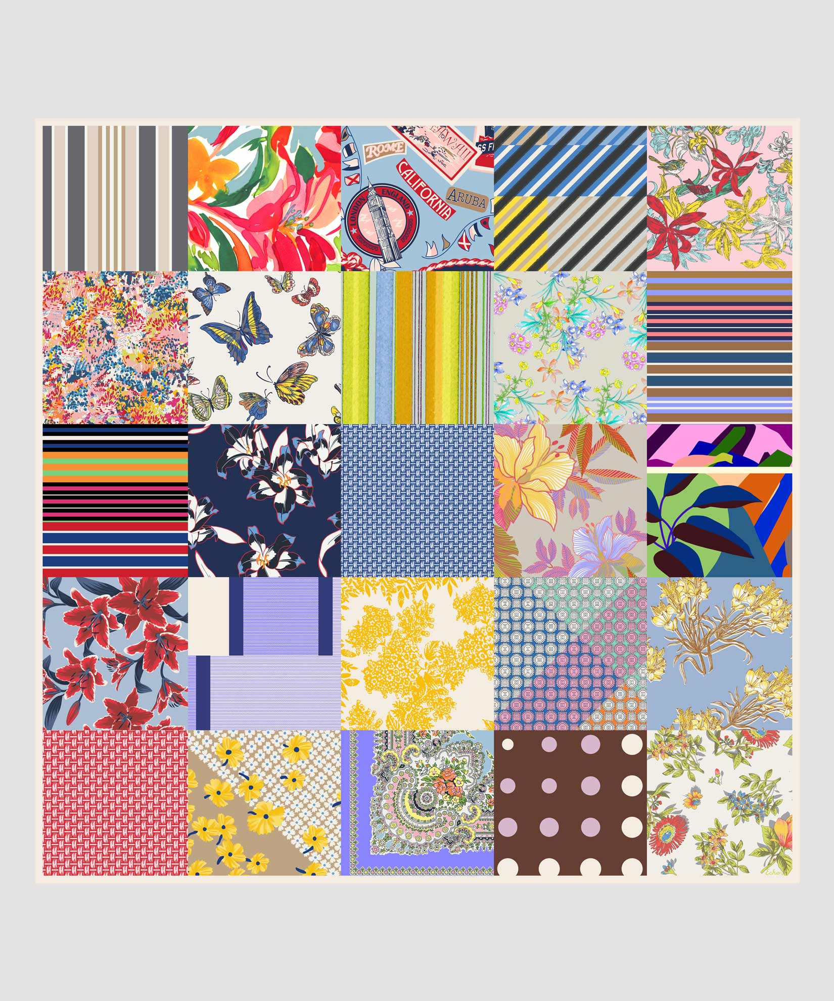 Multi - Spring Patchwork Silk Square