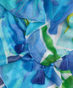 Coastal Blue - Watercolor Floral Oblong