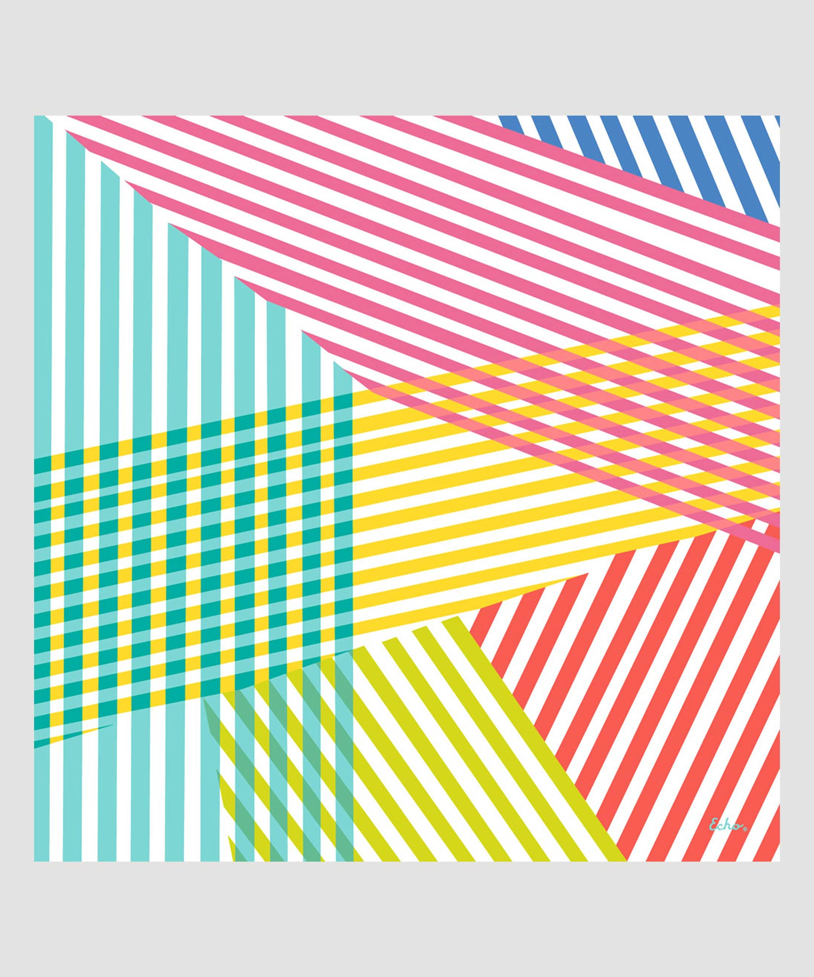 Multi - Colorful Stripe Square