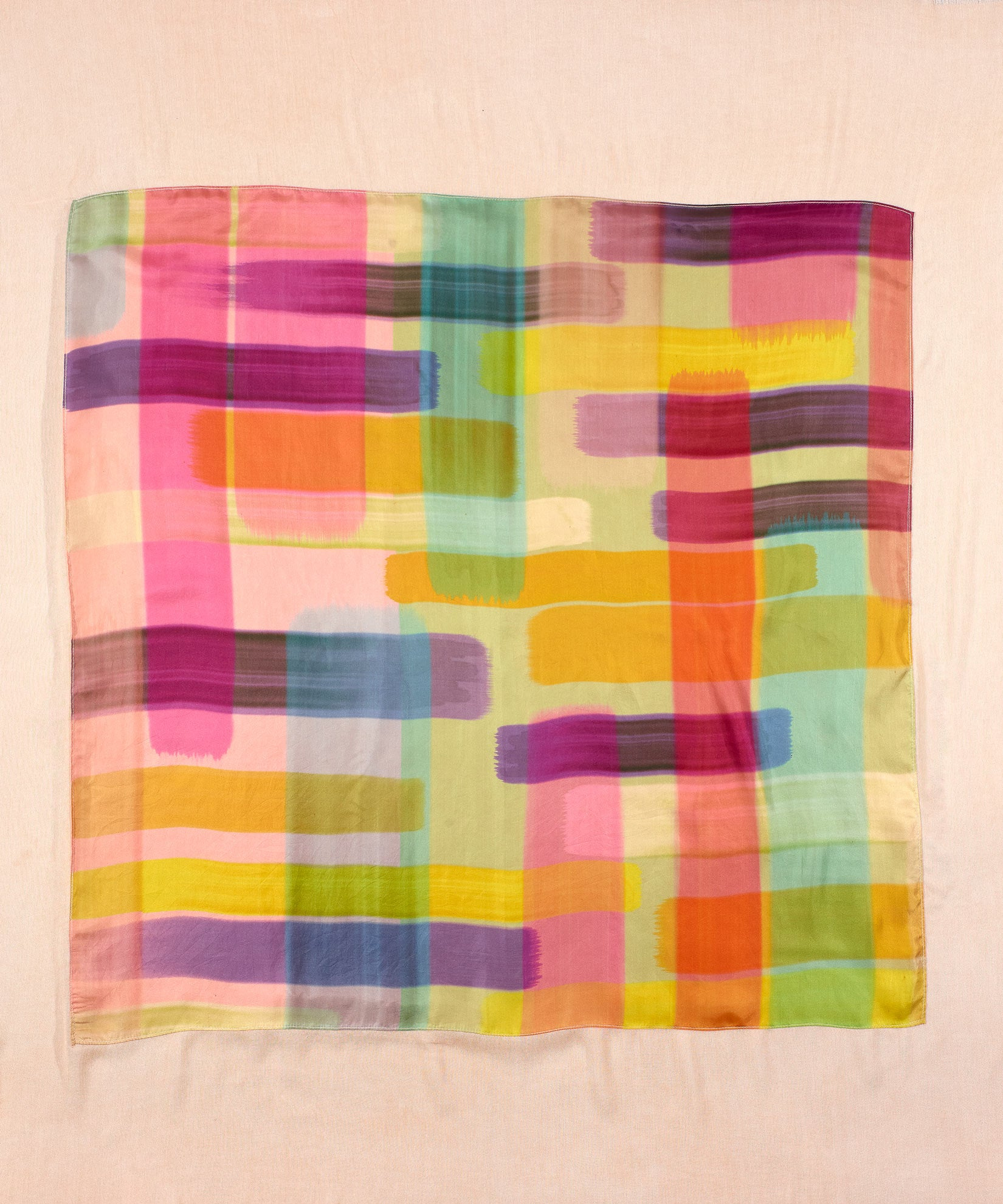 Pink - Patchwork Stripe Over Dyed Square