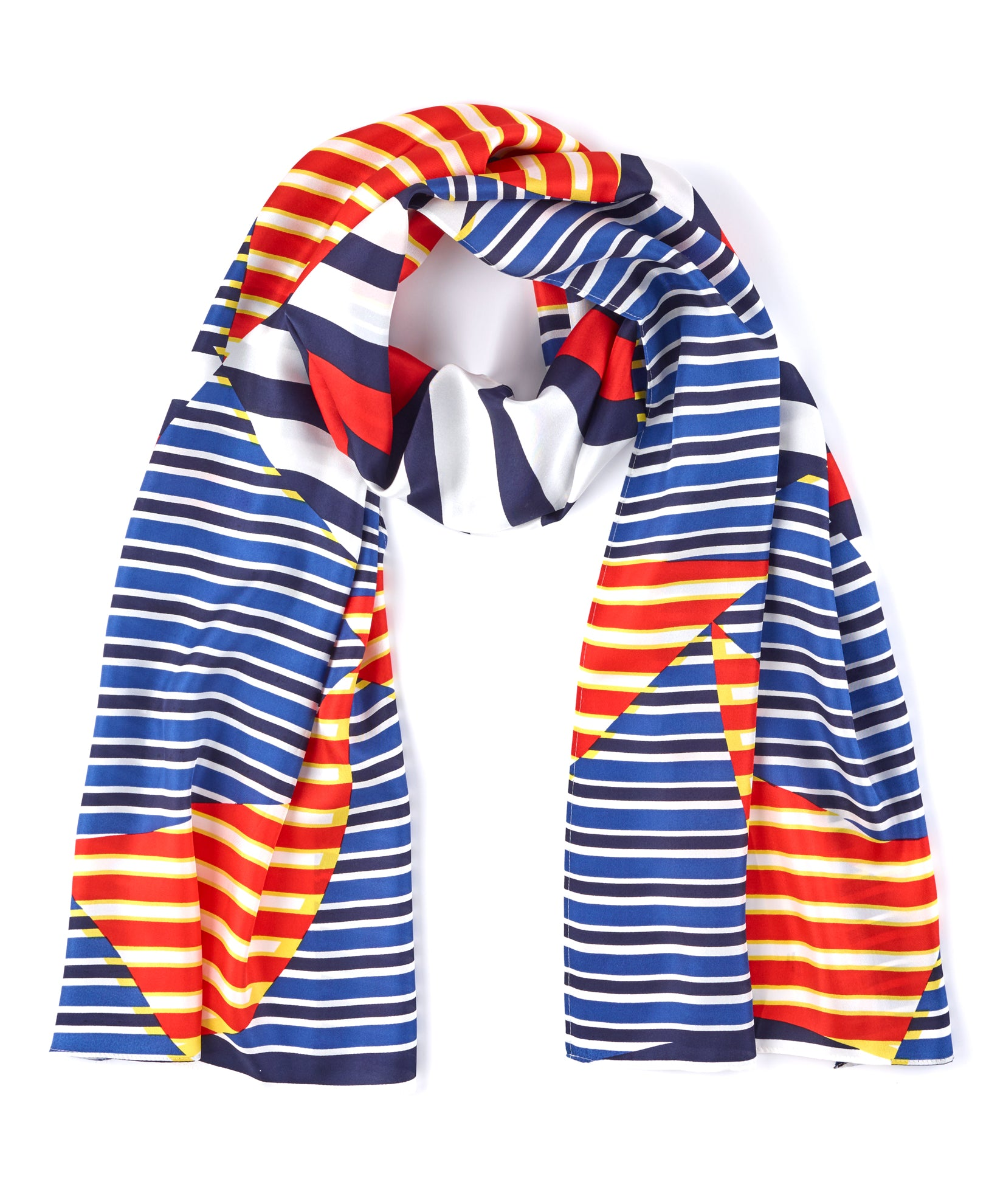 Navy - Sailing Away Silk Oblong