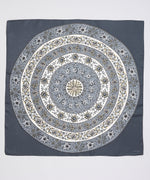 Black - Circular Floral Silk Square