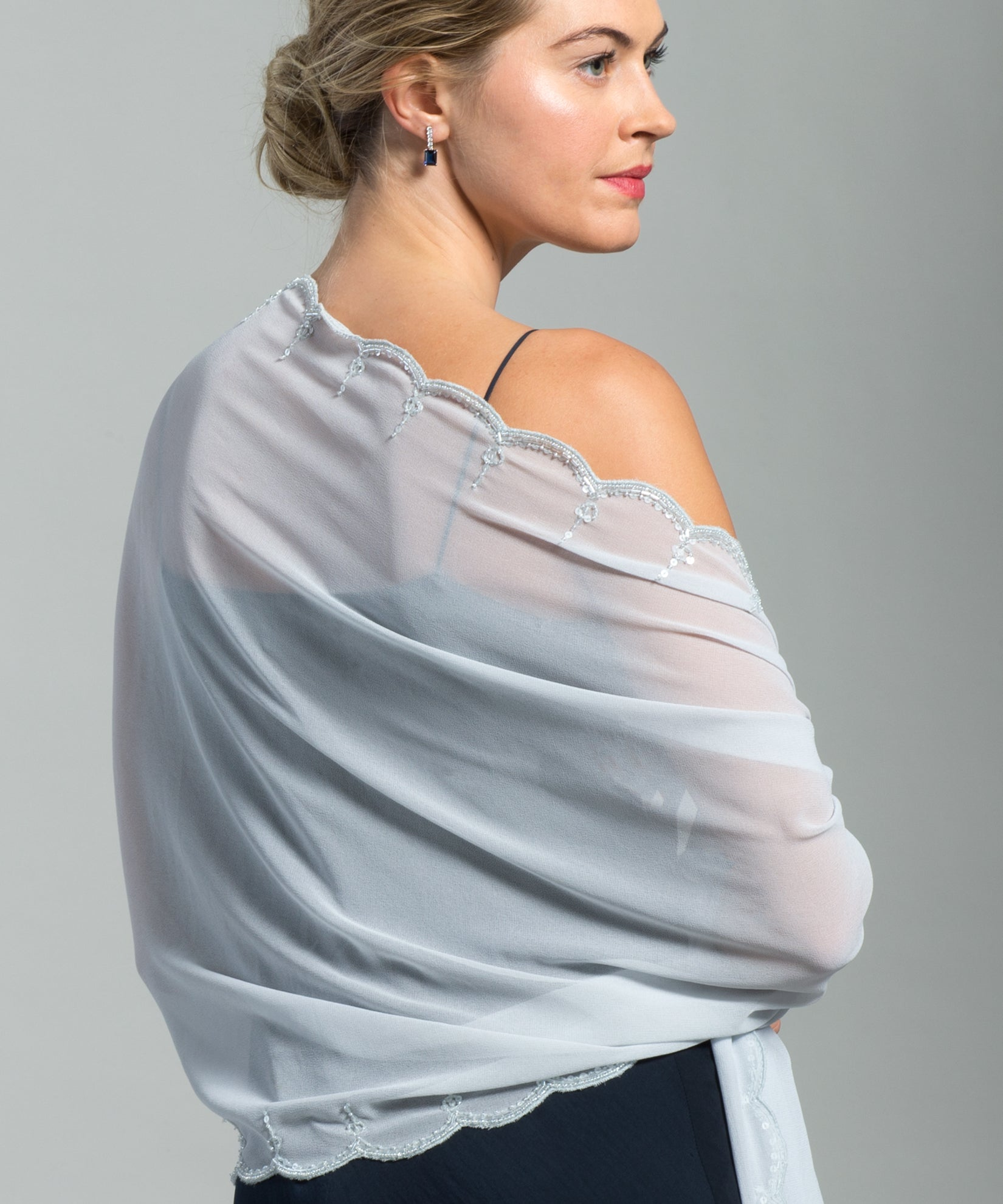 Echo Silver - Scallop Edge Embellished Wrap