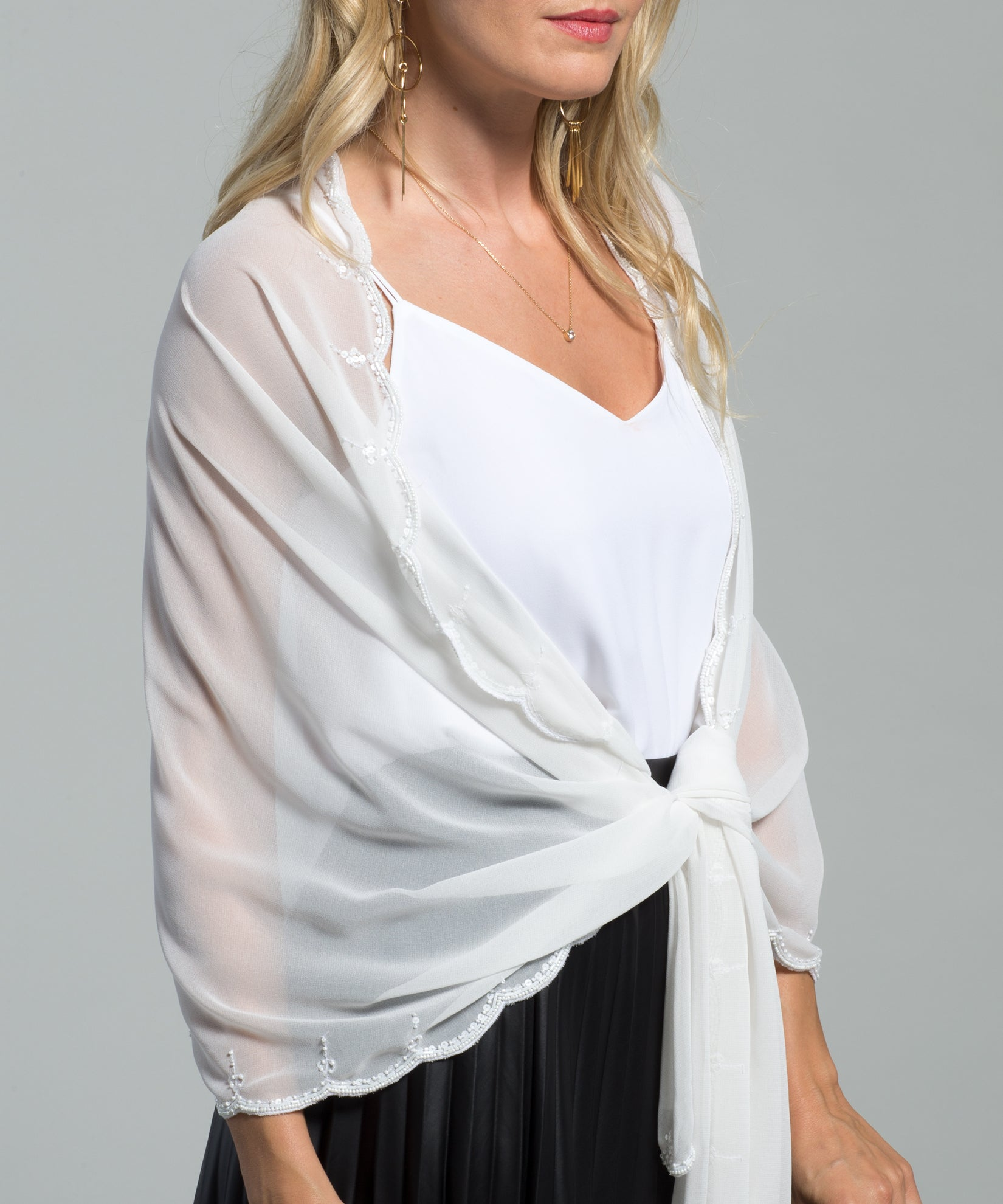 Ivory - Scallop Edge Embellished Wrap