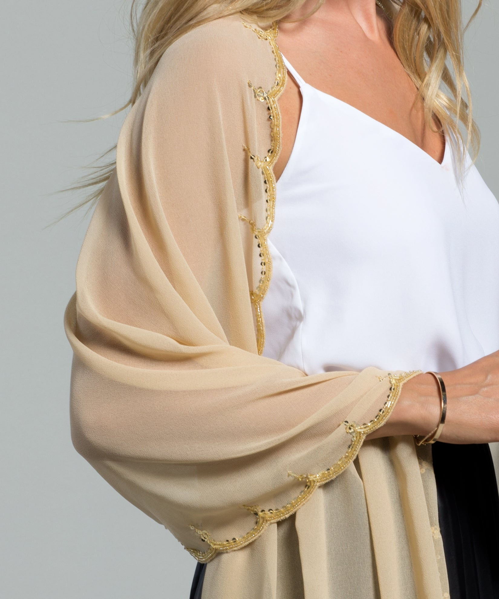Champagne - Scallop Edge Embellished Wrap