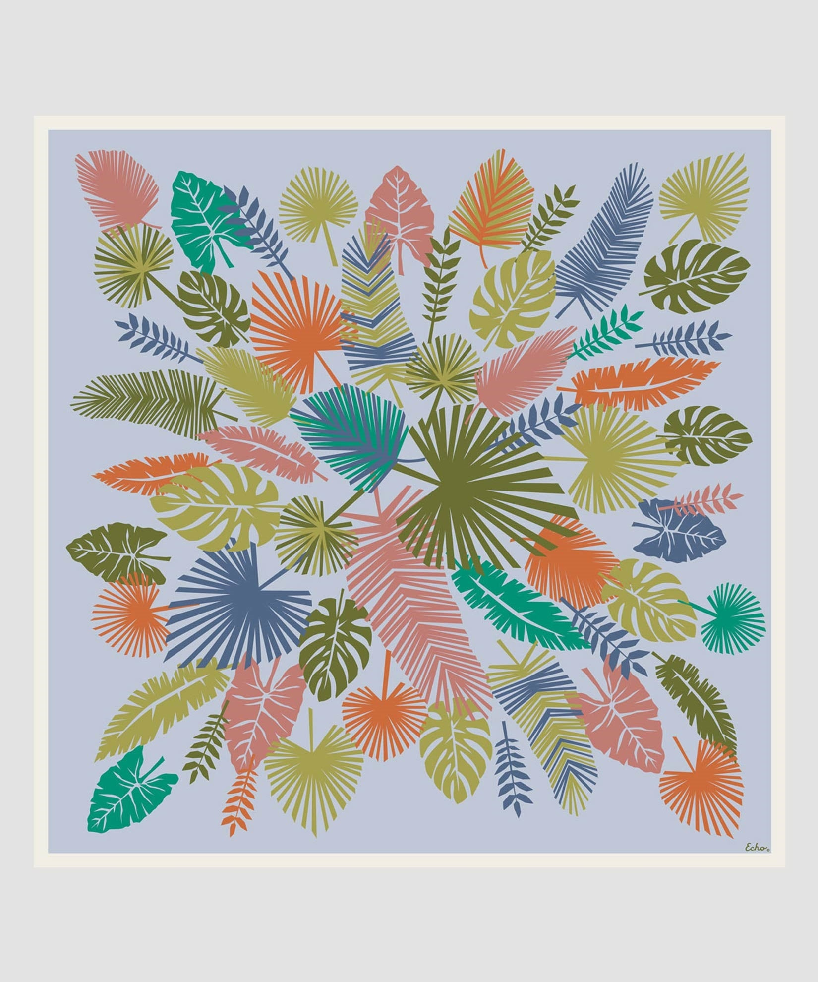 Multi - Summer Palms Silk Square