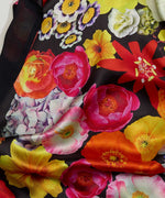 Black - Summer Floral Double Faced Silk Oblong