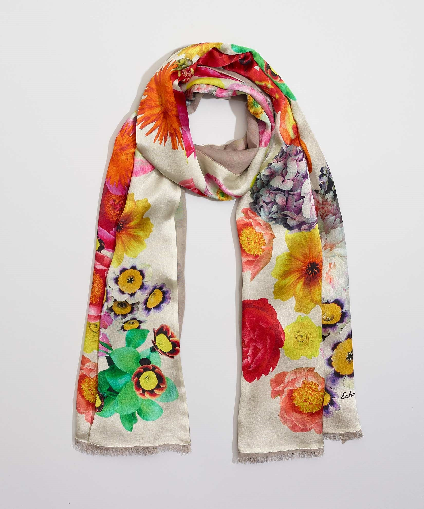 White - Summer Floral Double Faced Silk Oblong