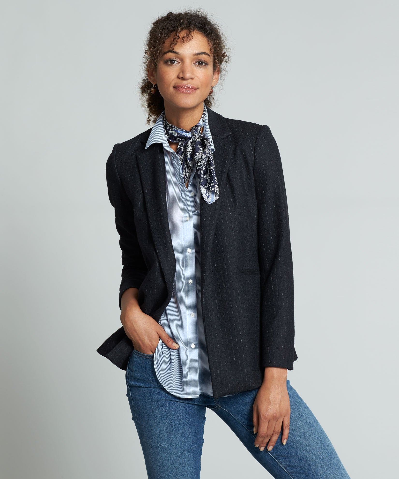 Denim Blue - Patched Bandana Silk Square