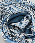 Denim Blue - Ornate Paisley Oversize Silk Diamond