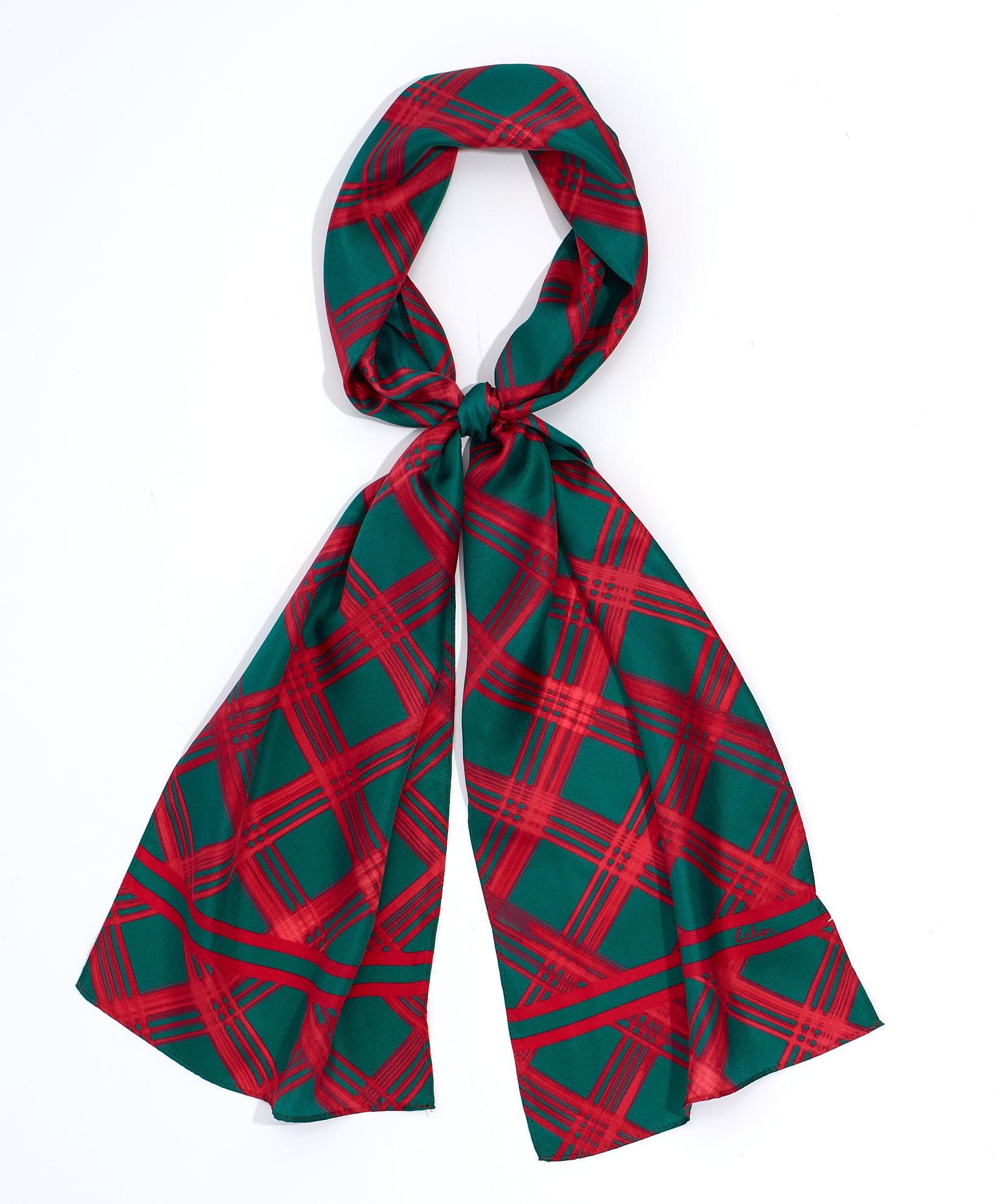 Cherry Red - Holiday Plaid Silk Oblong