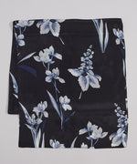 Black - Floral Painting Silk Oblong