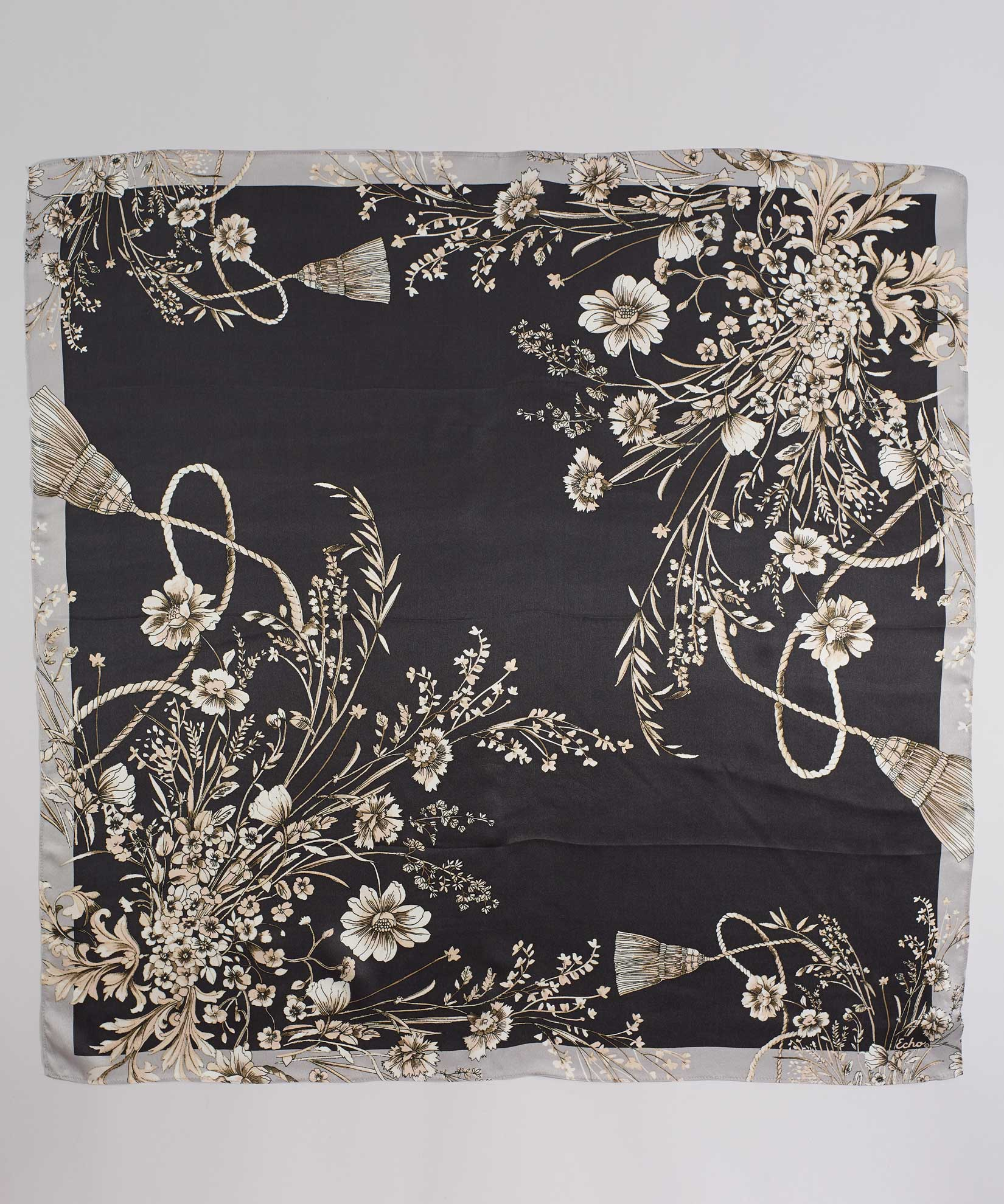 Black - Floral Tassel Silk Square