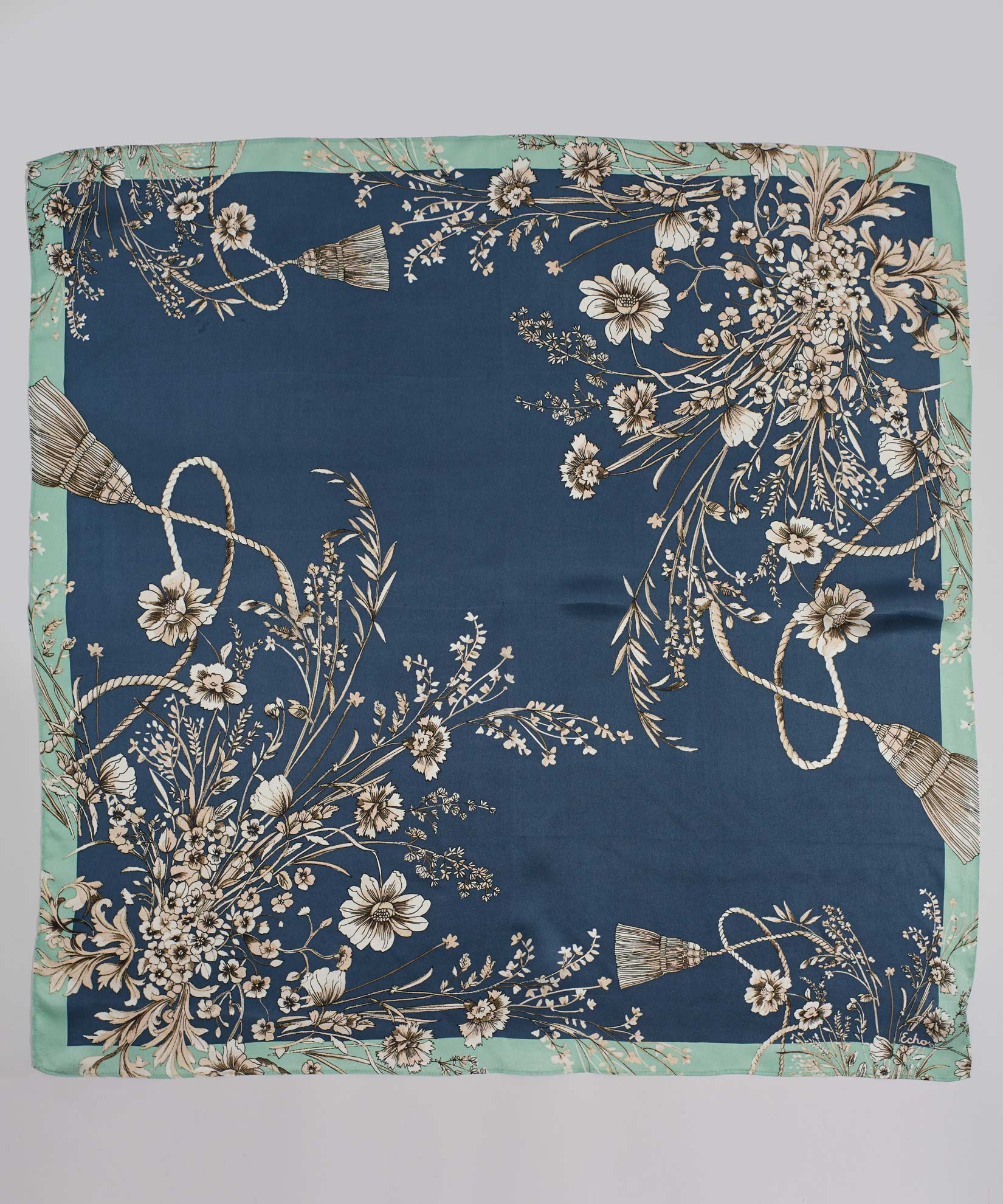 Peacock - Floral Tassel Silk Square