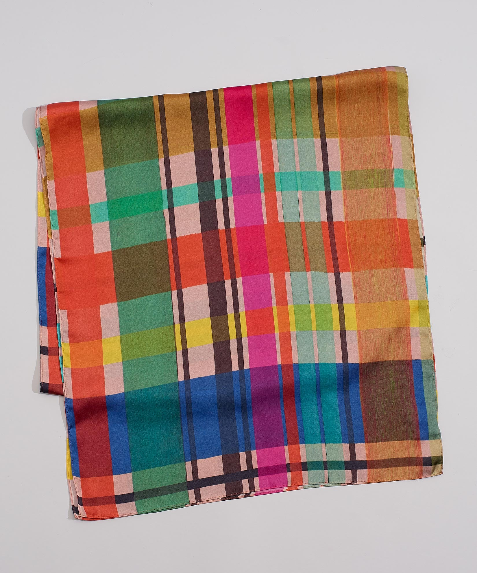 Multi - Hand Drawn Plaid Oblong
