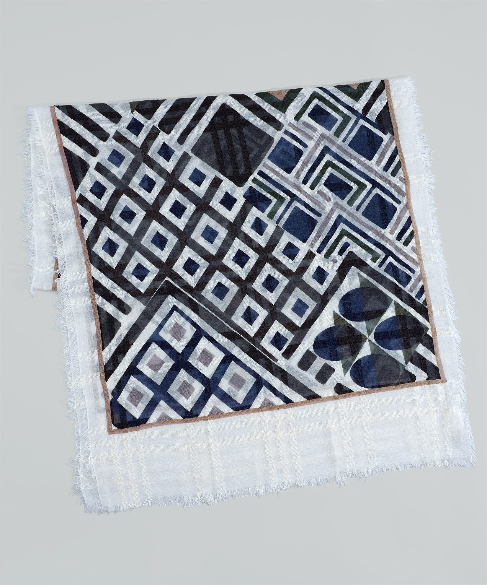 White - Graphic Patchwork Oblong