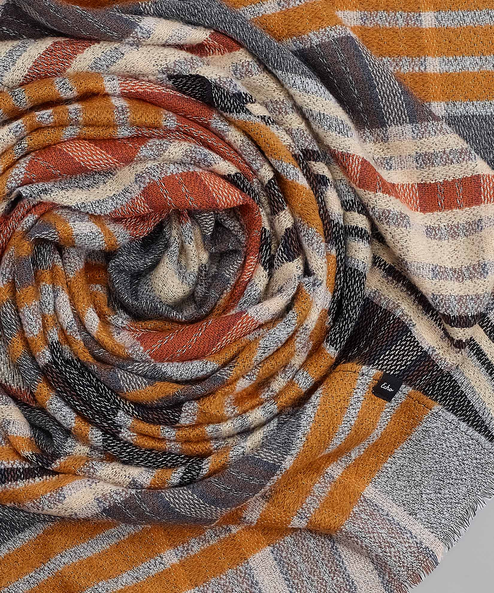 Orange Poppy - Textured Plaid Oblong