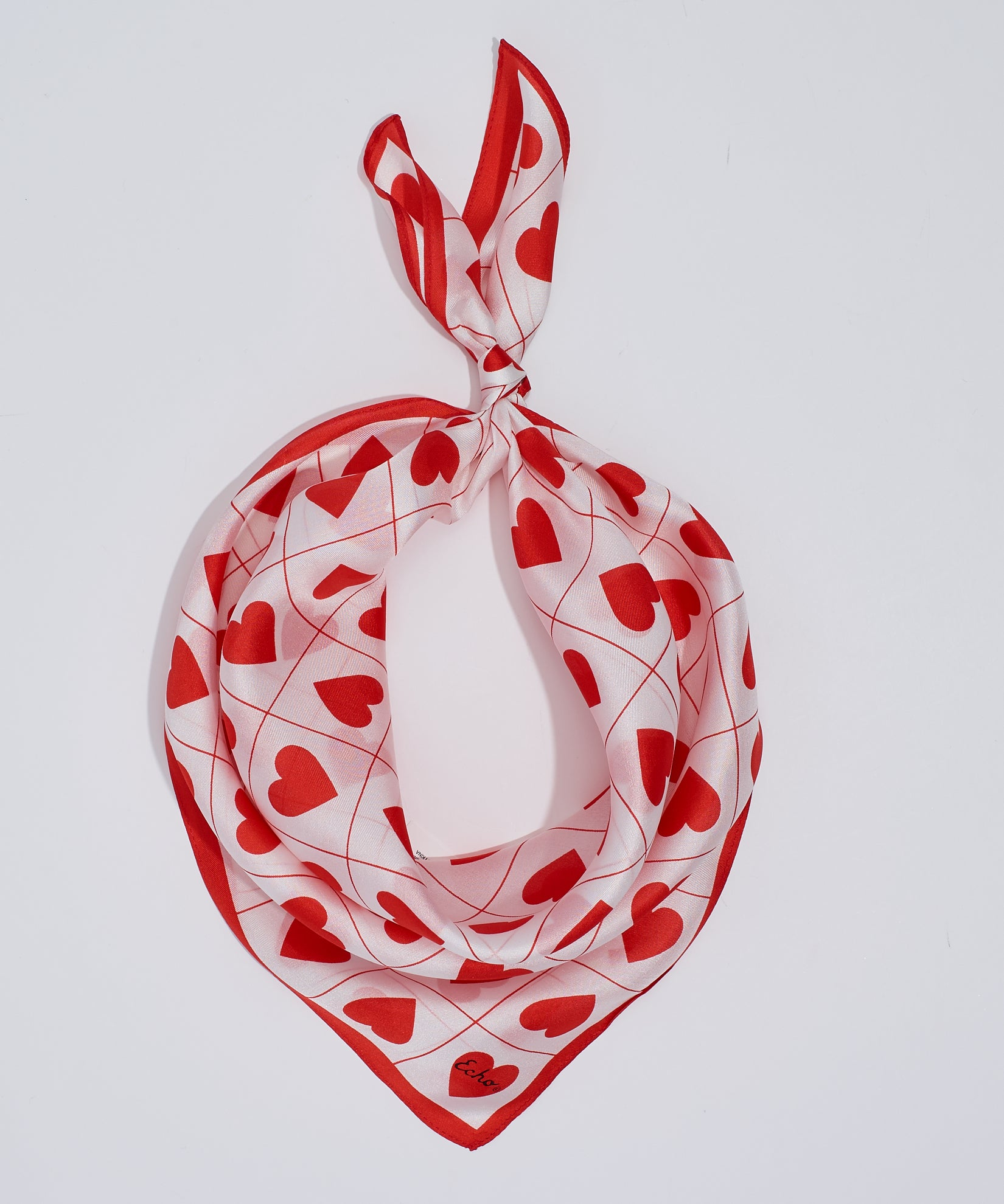 White - Hearts Silk Neckerchief