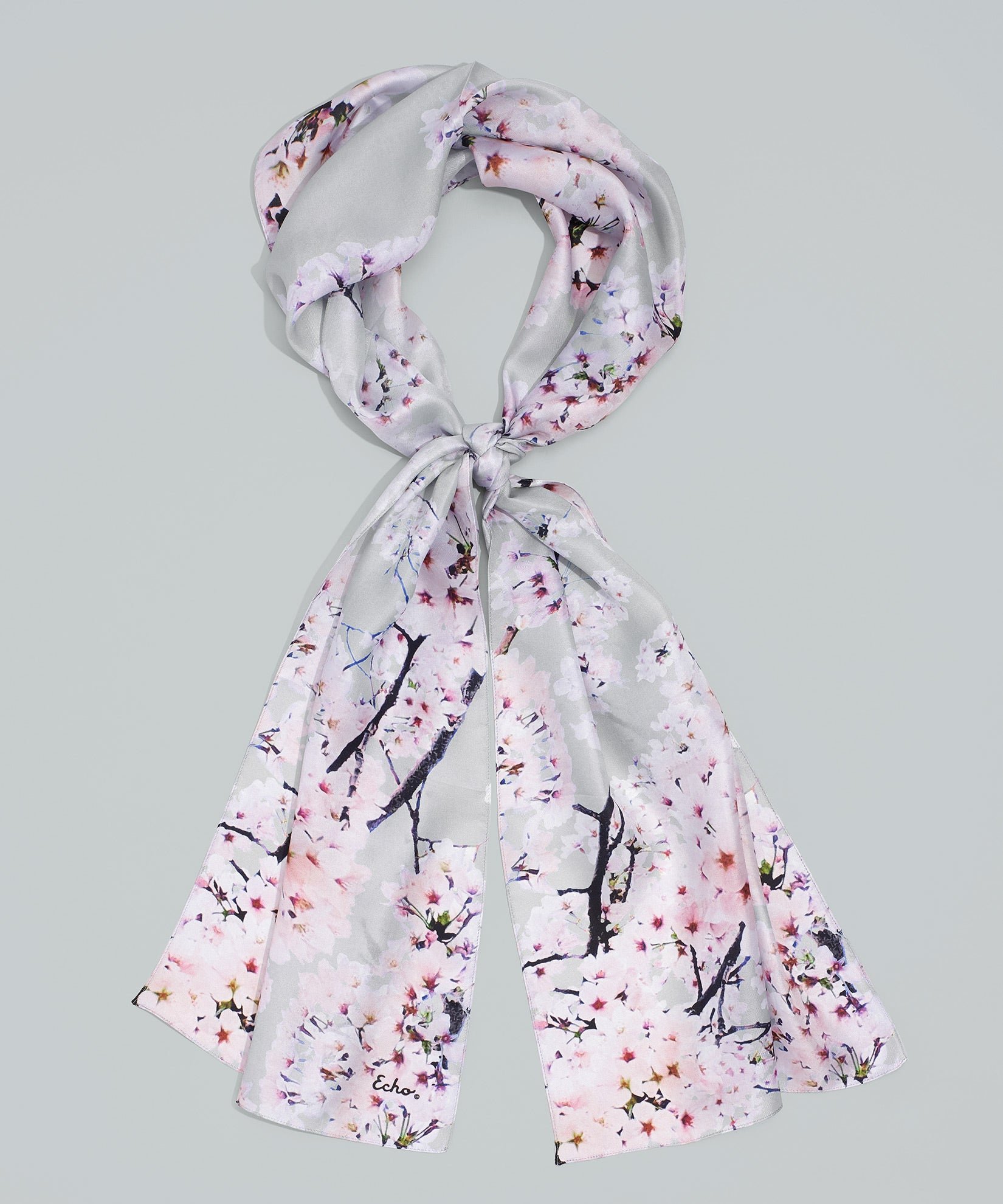 Silver - Cherry Blossoms Silk Oblong
