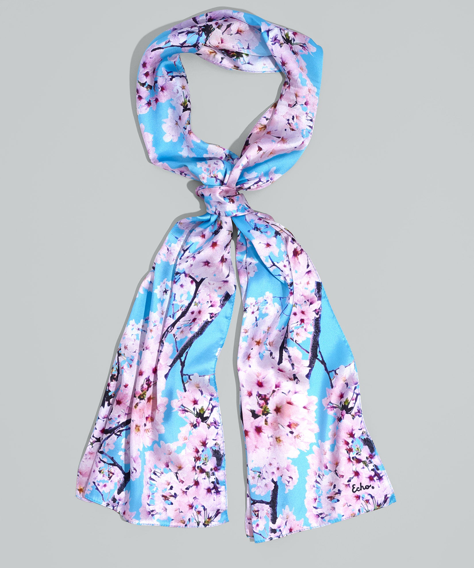 Sky Blue - Cherry Blossoms Silk Oblong
